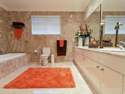 designer bathroom rugs orange luxury rug for modern bathroom decor with beige lacquered