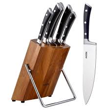 aicok kitchen knife block set carbon stainless steel 6pieces