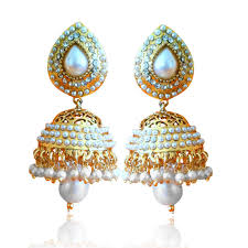 jhumka earrings online buy ethnic pearl jhumka earrings with white stones by adiva