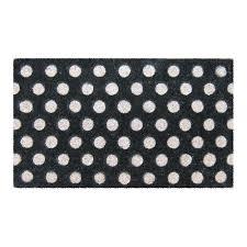 Outdoor Coir Doormats Entryways White Polka Dots 18 In X 30 In Hand Woven Coir Door