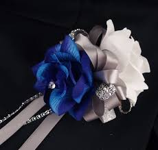 royal blue boutonniere 2pc set wrist corsage boutonniere white royal blue corsage