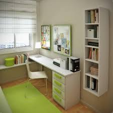 corner white computer desk interior exquisite small green bedroom decoration using light