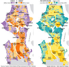 Map Of Seattle Who Voted For Sawant Map Compared To A Map Of Income Distribution