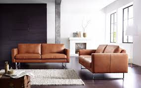Modern Leather Sofa Furniture Brown Modern Leather Sofa With White Rug And