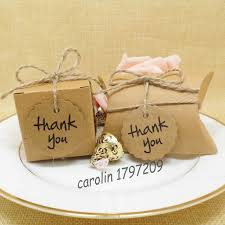 thank you wedding gifts 50pcs lot kraft paper wedding candy box with thank you tag