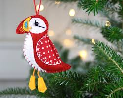 felt puffin ornament felt ornament bird