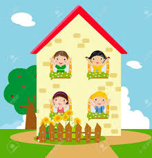 Ein Haus Vier Kinder Und Ein Haus Lizenzfrei Nutzbare Vektorgrafiken Clip