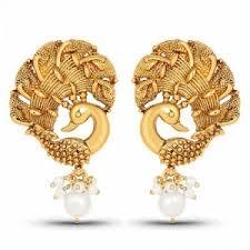 peacock design earrings in gold earrings gold plated peacock shape earrings for women online