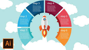 Step Design by Illustrator Tutorial Rocket Launch Round Infographic Design