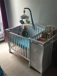 white mini crib with changing table blankets swaddlings convertible crib attached changing table