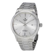 tudor style silver dial automatic men u0027s stainless steel watch