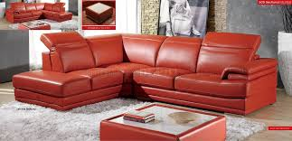 Top Grain Leather Sectional Sofas Modern Leather Sectional Sofa 605 Orange