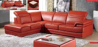 Top Grain Leather Sectional Sofa Modern Full Leather Sectional Sofa 605 Orange