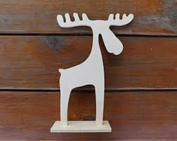 christmas deer on a stand blank for decorating from plywood