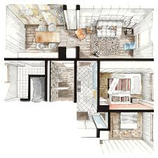 Interior Design Furniture Sketches Materials And Furniture Stage Of An Interior Project In Process Of