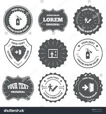 vintage emblems labels emergency exit icons stock vector 326906297