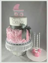 pink and silver baby shower cake just change the stroller on top to a tiara baby