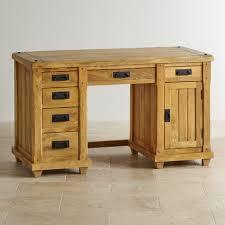 Natural Wood Computer Desk Baku Light Computer Desk In Solid Mango Oak Furniture Land