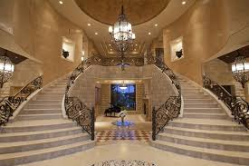 Large Foyer Lantern Chandelier Mediterranean Staircase With Cathedral Ceiling Symmetry Double