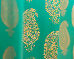 Turquoise Paisley Curtains Indian Curtains Etsy