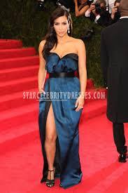kim kardashian met gala 2014 strapless navy column dress