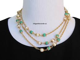 gold green necklace images Chanel jade green gold plated necklace pearl sautoir 53 quot tradesy jpg