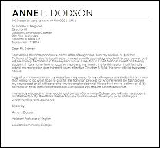 resignation letter due to health resignation letters livecareer