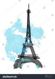 france paris urban sketch eiffel tower stock illustration