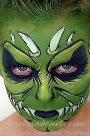 green goblin swirls and curls face painting full faces