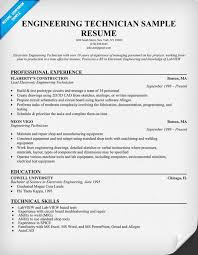 Sample Of Resume For Mechanical Engineer by Engineering Technician Sample Resume Resumecompanion Com