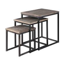 wood nesting coffee table uttermost 24460 bomani wood nesting table set of 3 homeclick com