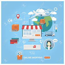 design poster buy vector flat design shopping concept buying online and e commerce
