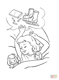 little is dreaming about christmas presents coloring page