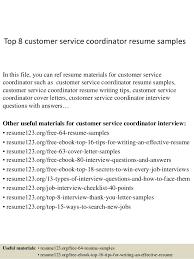 Customer Care Resume Sample Top 8 Customer Service Coordinator Resume Samples 1 638 Jpg Cb U003d1427858353