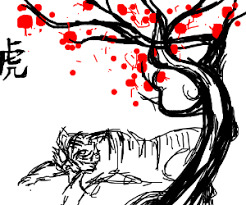 tiger cherry blossom tree drawing by skimpy noodle