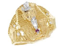 diamond men rings images Men 39 s real 10k yellow gold lab diamond pharaoh ring 27mm jpg