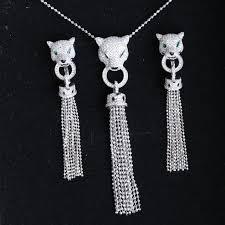 luxury silver necklace images Luxury tassel aaa zircon 925 sterling silver leopard necklace cuff jpg