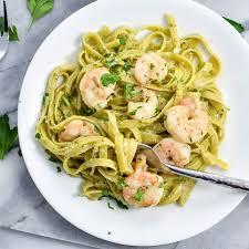 Dinner Ideas With Shrimp And Pasta Creamy Pesto Pasta With Garlic Butter Shrimp