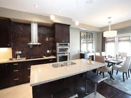 kitchen and dining room combo custom brown wooden wall storage