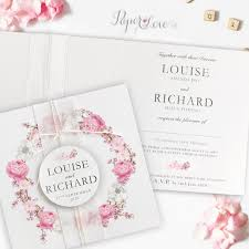 square pink flowers folded wedding day invitation with application