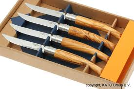 opinel kitchen knives opinel 4 steak knife set olive wood knivesandtools co uk