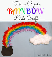tissue paper rainbow kids craft stpatricksday st patrick u0027s day