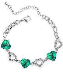 s day bracelets with birthstones luxury emerald green hearts silver rhinestones women