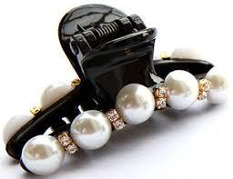 claw clip 1 pair hair clip black claw clip pearl plastics for women