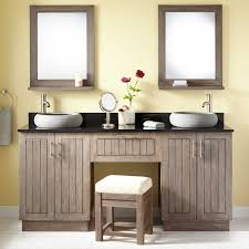Teak Double Vessel Sink Vanity With Makeup Area Gray Wash Bathroom - Bathroom vanities double vessel sink
