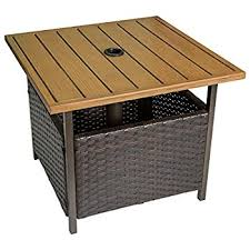 Side Patio Umbrella Amazon Com Patio Umbrella Stand Wicker And Steel Side Table Base