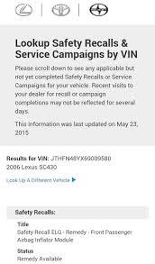 takata airbag recall for lexus takata airbag recall 02 u0027 05 u0027 sc430 page 2 clublexus lexus