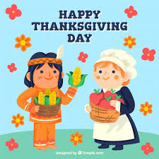 thanksgiving characters background vector free