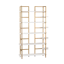 5 shelf white and gold shelving unit tn 892715 the home depot