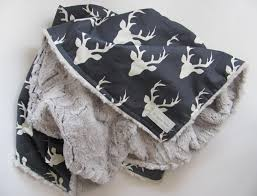 Baby Deer Nursery Baby Boy Blanket Baby Nursery Deer Minky Blanket Buck Plush Minky